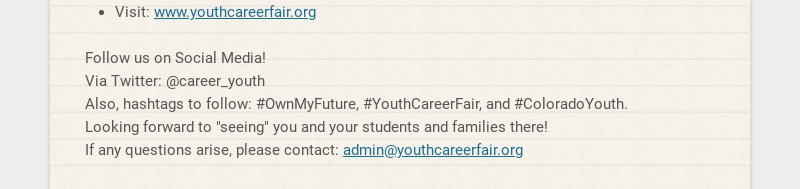 Announcing the Inaugural Colorado Virtual Career Fair for Youth! Date: April 19-22, 2021 Time: 4...