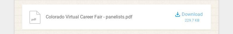 pdf Colorado Virtual Career Fair - panelists.pdf Download 229.7 KB