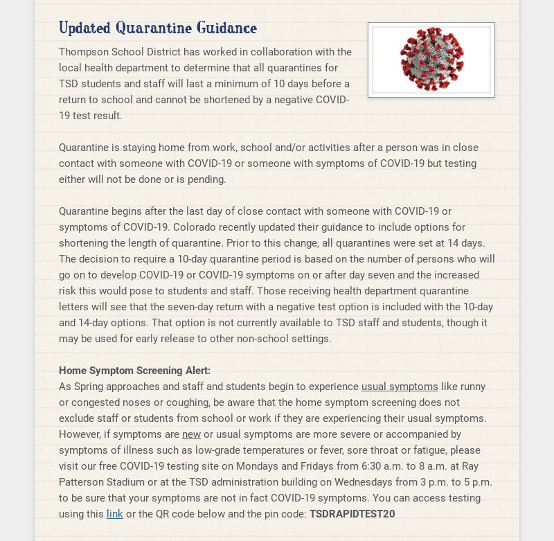 Updated Quarantine Guidance Thompson School District has worked in collaboration with the local...