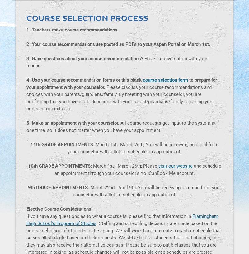 COURSE SELECTION PROCESS 1. Teachers make course recommendations. 2. Your course...