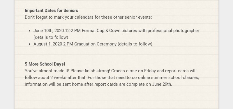 Important Dates for Seniors Don't forget to mark your calendars for these other senior events:...