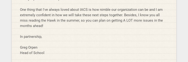 Dear IACS Community, Yesterday, I emailed a final call to complete the 2020 Family Survey with...