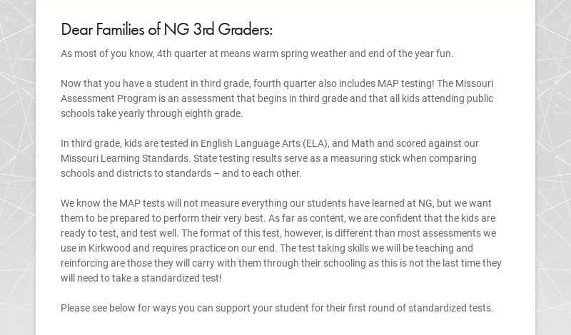 Dear Families of NG 3rd Graders: As most of you know, 4th quarter at means warm spring weather...