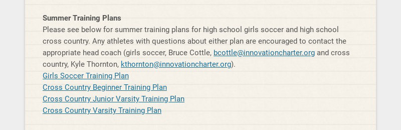 Summer Training Plans Please see below for summer training plans for high school girls soccer and...