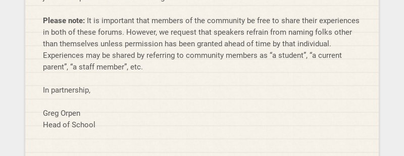 .Dear IACS Community, As a follow up to our Board of Trustee's letter to the community dated...