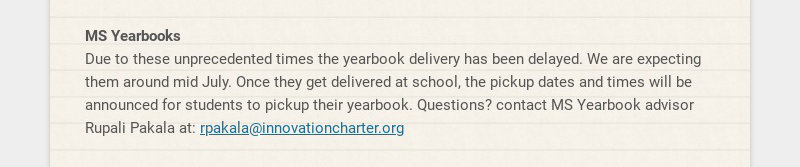 MS Yearbooks Due to these unprecedented times the yearbook delivery has been delayed. We are...