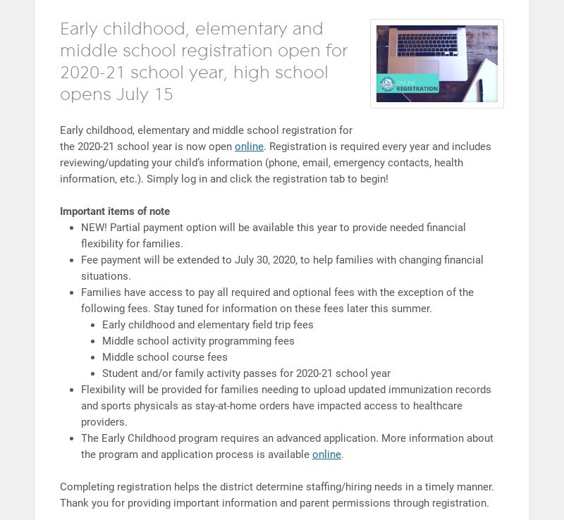Early childhood, elementary and middle school registration open for 2020-21 school year, high...