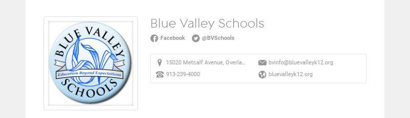 Blue Valley Schools Facebook @BVSchools 15020 Metcalf Avenue, Overland Park, KS 66223, USA...