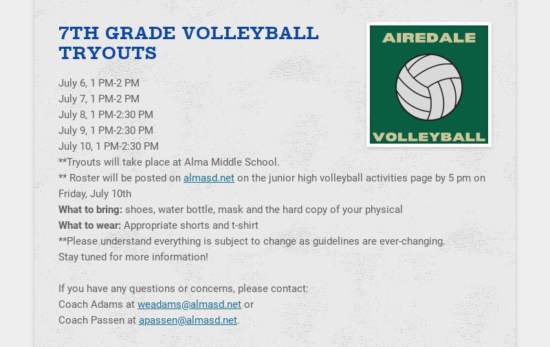 7TH GRADE VOLLEYBALL TRYOUTS