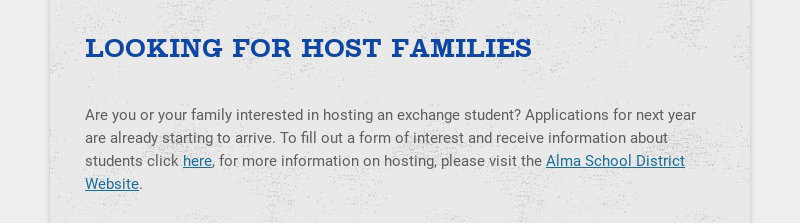 LOOKING FOR HOST FAMILIES