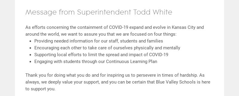 Message from Superintendent Todd White As efforts concerning the containment of COVID-19 expand...