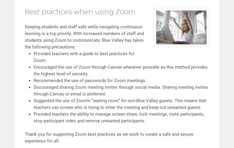 Best practices when using Zoom Keeping students and staff safe while navigating continuous...