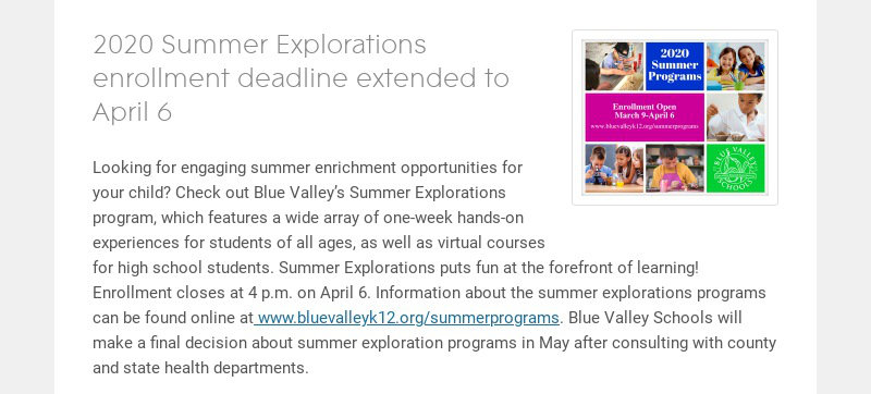 2020 Summer Explorations enrollment deadline extended to April 6 Looking for engaging summer...
