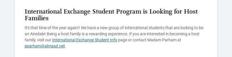 International Exchange Student Program is Looking for Host Families