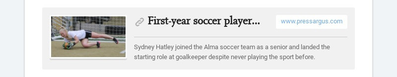 First-year soccer player Sydney Hatley has thrived in net, been great example for Alma girls...