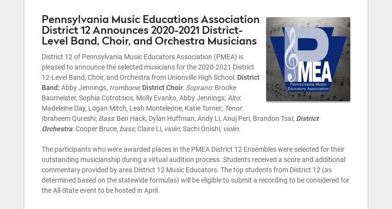 Pennsylvania Music Educations Association District 12 Announces 2020-2021 District-Level Band,...