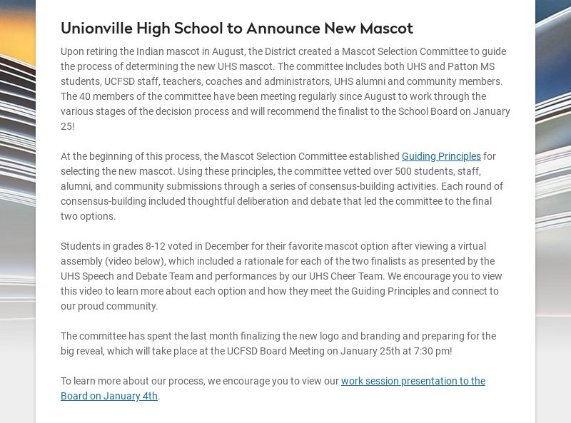 Unionville High School to Announce New Mascot Upon retiring the Indian mascot in August, the...