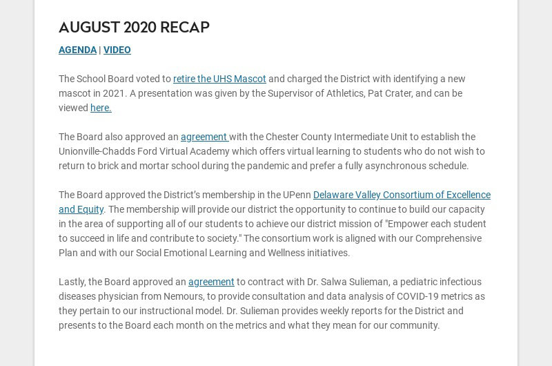 AUGUST 2020 RECAP AGENDA | VIDEO The School Board voted to retire the UHS Mascot and charged...