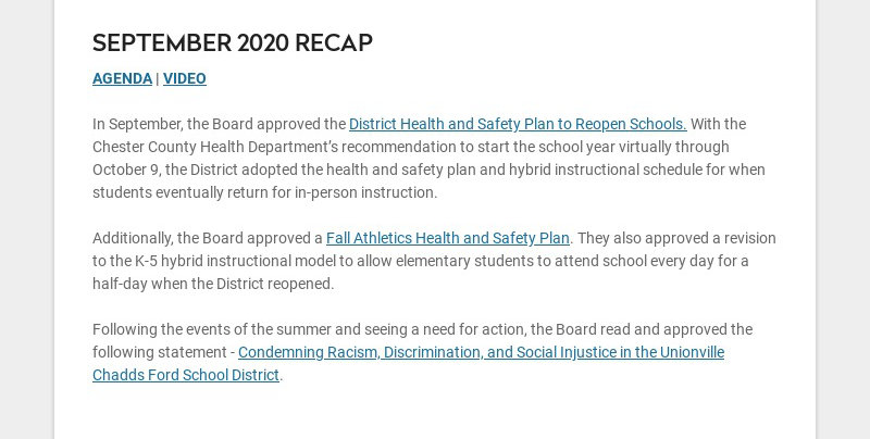 SEPTEMBER 2020 RECAP AGENDA | VIDEO In September, the Board approved the District Health and...