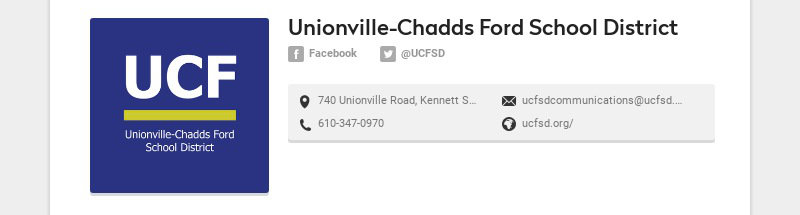 Unionville-Chadds Ford School District Facebook @UCFSD 740 Unionville Road, Kennett Square, PA...