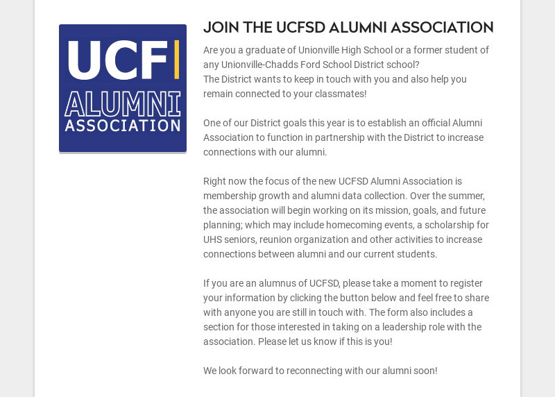 JOIN THE UCFSD ALUMNI ASSOCIATION Are you a graduate of Unionville High School or a former...