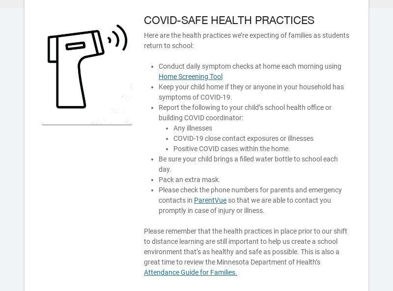 COVID-SAFE HEALTH PRACTICES Here are the health practices we're expecting of families as students...
