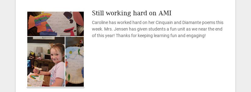 Still working hard on AMI Caroline has worked hard on her Cinquain and Diamante poems this week....