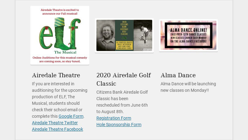 Airedale Theatre If you are interested in auditioning for the upcoming production of ELF, The...