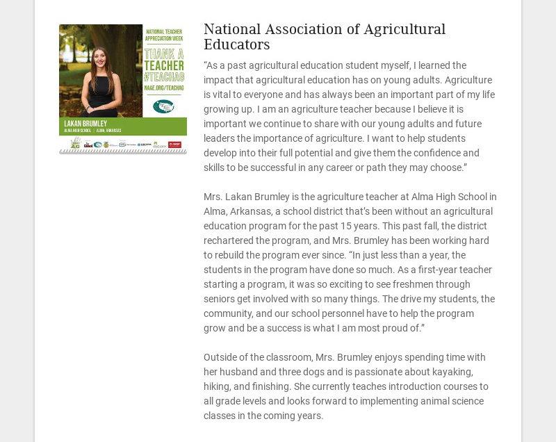 "National Association of Agricultural Educators ""As a past agricultural education student myself,..."