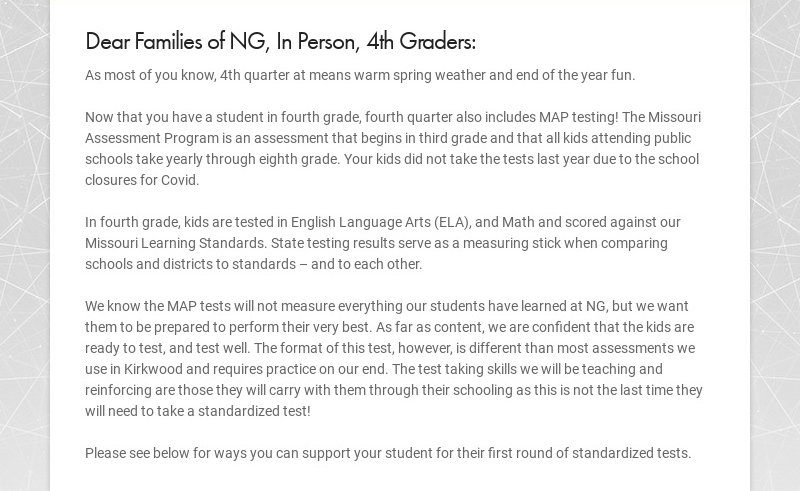 Dear Families of NG, In Person, 4th Graders: As most of you know, 4th quarter at means warm...
