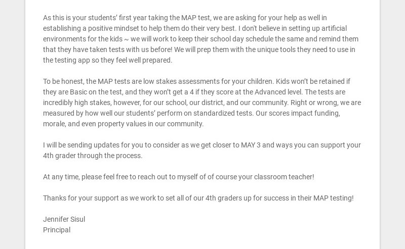 As this is your students' first year taking the MAP test, we are asking for your help as well in...