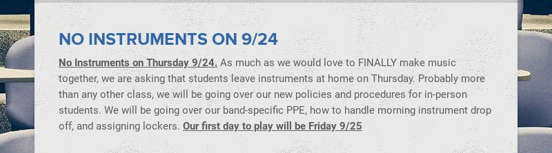 NO INSTRUMENTS ON 9/24 No Instruments on Thursday 9/24. As much as we would love to FINALLY make...