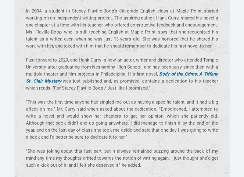 In 2004, a student in Stacey Flaville-Boop's 8th-grade English class at Maple Point started...