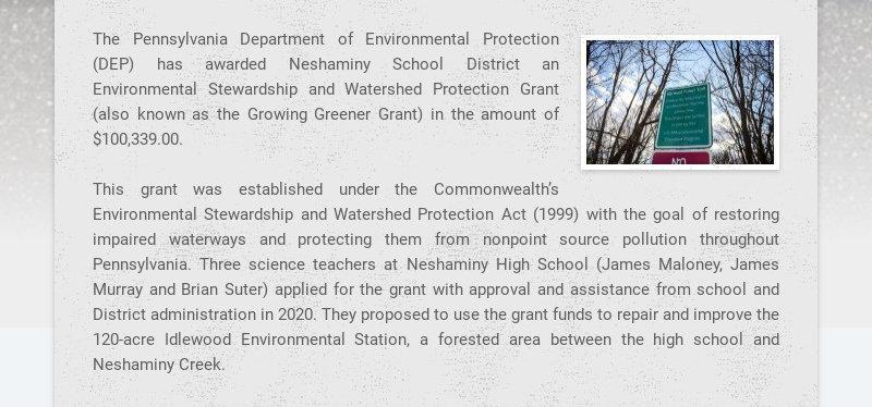 The Pennsylvania Department of Environmental Protection (DEP) has awarded Neshaminy School...