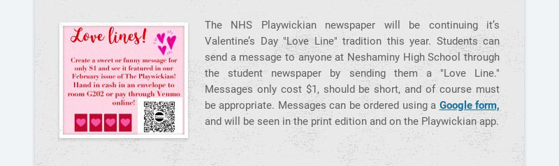 """The NHS Playwickian newspaper will be continuing it's Valentine's Day """"Love Line"""" tradition this..."""