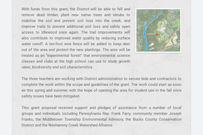 With funds from this grant, the District will be able to fell and remove dead timber, plant new...