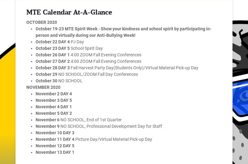 MTE Calendar At-A-Glance
