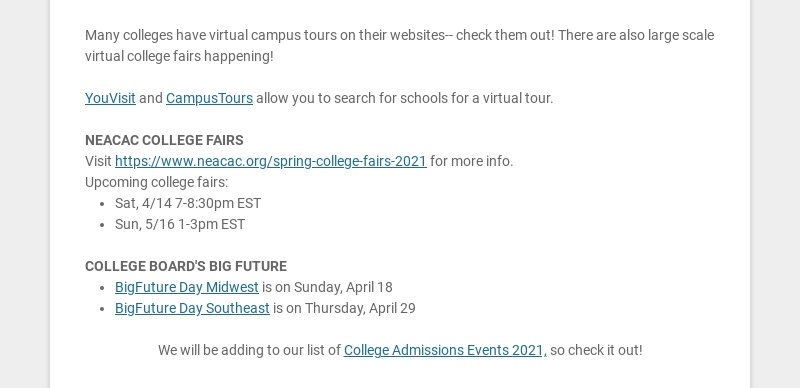 Many colleges have virtual campus tours on their websites-- check them out! There are also large...