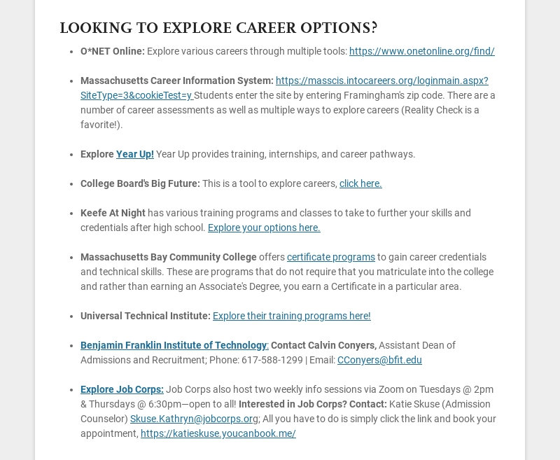 LOOKING TO EXPLORE CAREER OPTIONS? O*NET Online: Explore various careers through multiple tools:...