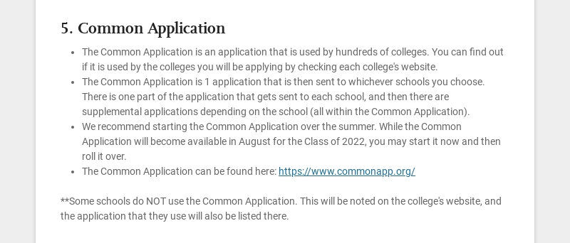 5. Common Application The Common Application is an application that is used by hundreds of...