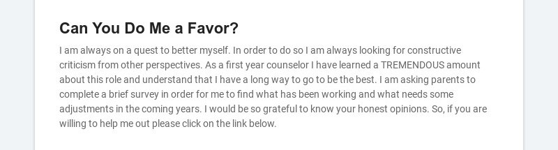 Can You Do Me a Favor?