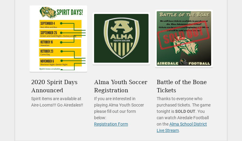 2020 Spirit Days Announced