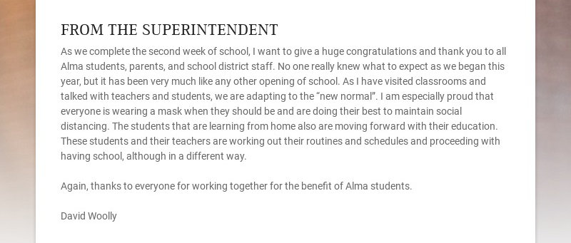 FROM THE SUPERINTENDENT