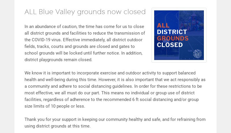ALL Blue Valley grounds now closed In an abundance of caution, the time has come for us to close...