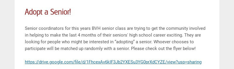 Adopt a Senior!