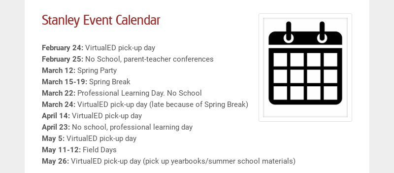 Stanley Event Calendar