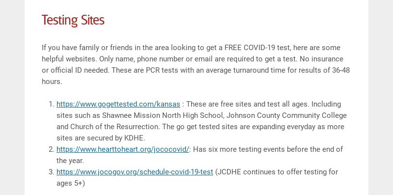 Testing Sites