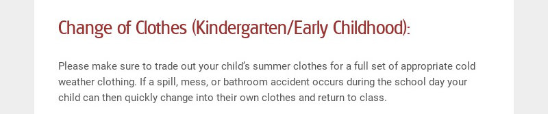 Change of Clothes (Kindergarten/Early Childhood):