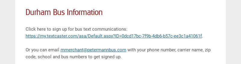 Durham Bus Information
