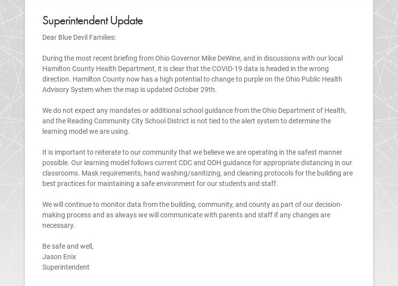 Superintendent Update Dear Blue Devil Families: During the most recent briefing from Ohio...
